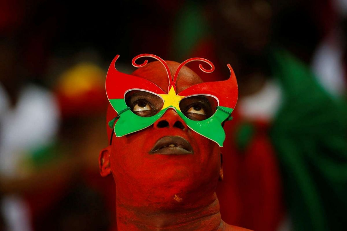 A Burkina Faso fan preparing to watch the match between Burkina Faso and Egypt during the African Cup of Nations, in Libreville, Gabon, on Feb 2, 2017.
