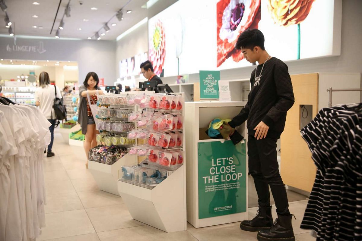 To reduce the environmental impact of the fashion industry, unwanted garments collected across 12 recycling bins in 10 H&M stores in Singapore are sold for reuse and recycling.