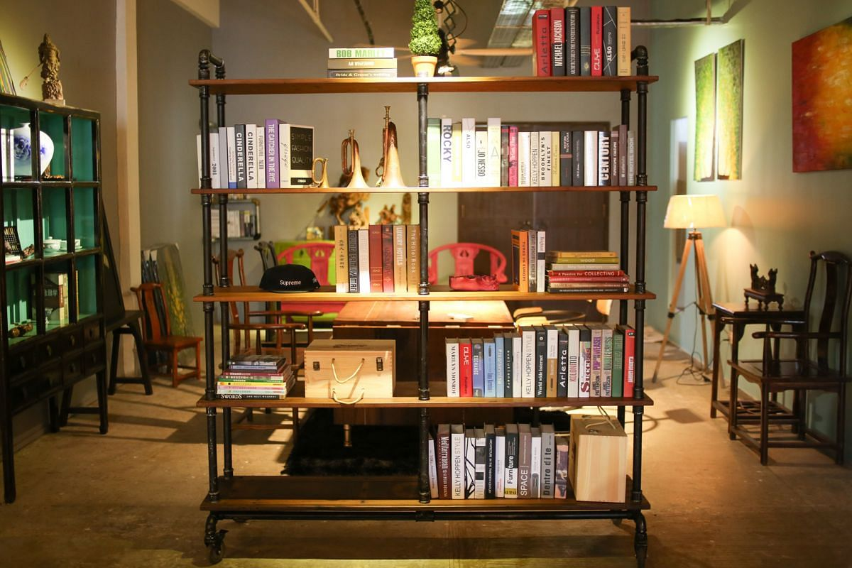 Peng Handcrafted founder Bernard Peng uses pipes to make furnishings such as shelves and lights (above).