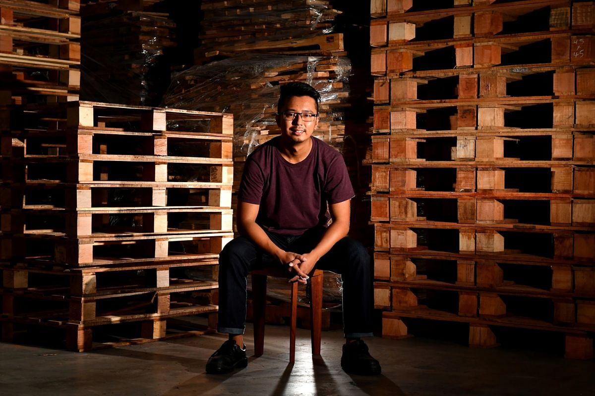 Triple Eyelid's Jackie Tan (above) makes the company's furniture pieces, including the Herringbone Coffee Table and the Blacksmith Night Stand.