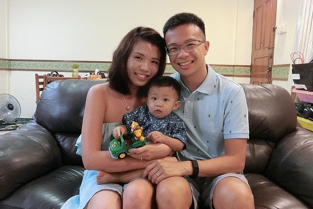 (Left) Major Kody Toh Guan Hong and his wife Joanna Khoo with their daughter Rayna, whom he bathes and takes to swimming class. (Right) Teacher Yonatan Ng and his wife Eunice Tan take turns doing chores, including changing the diapers of their son, N
