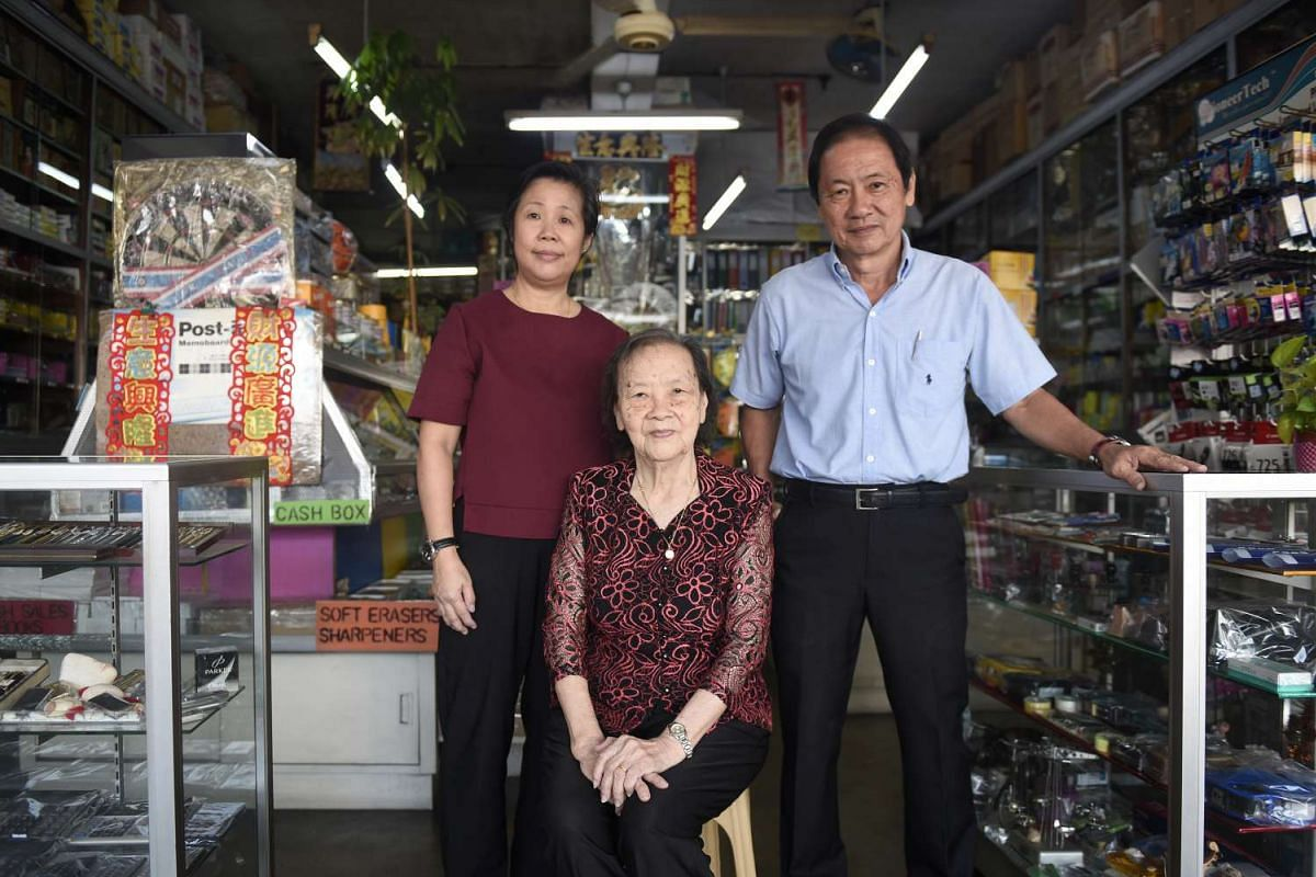 Mr Billy Goh runs Teo Chew Book Store with his wife Angela Chan and mother Lim Ah Lak.