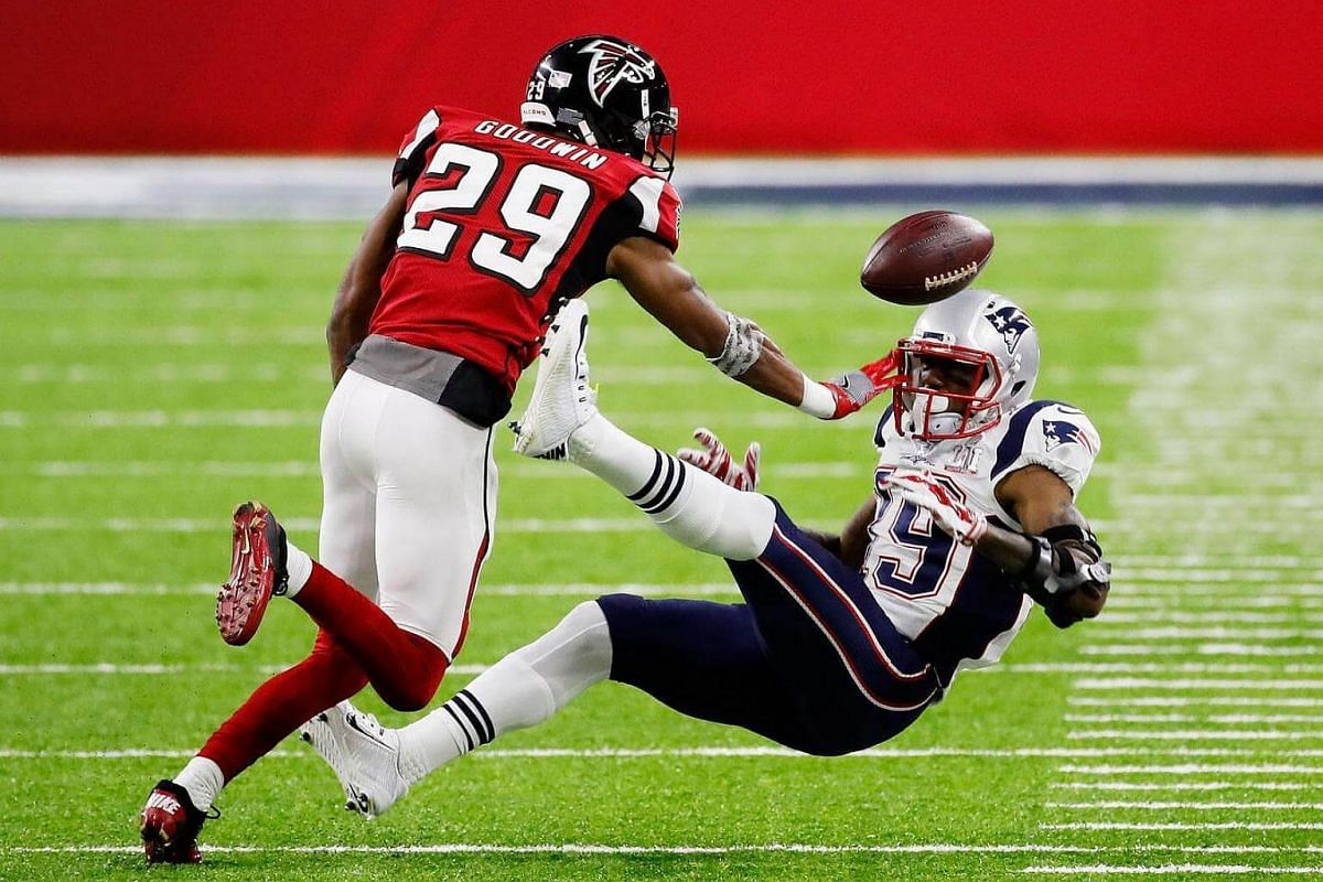C.J. Goodwin (left) of the Atlanta Falcons breaking up a pass intended for Malcolm Mitchell of the New England Patriots in the second quarter during Super Bowl 51 at NRG Stadium on Feb 5, 2017.
