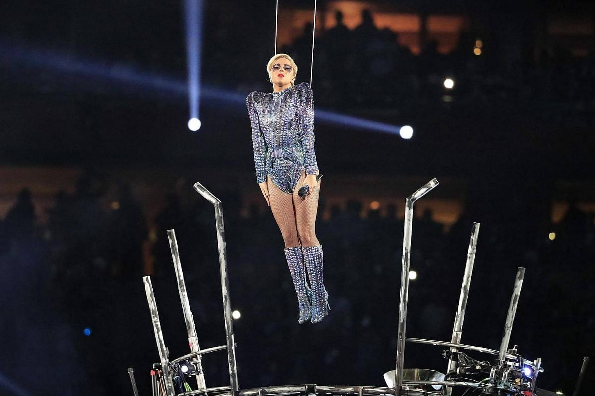 US singer Lady Gaga performing during the halftime show of Super Bowl LI at NRG Stadium in Houston, Texas, US, on Feb 5, 2017.