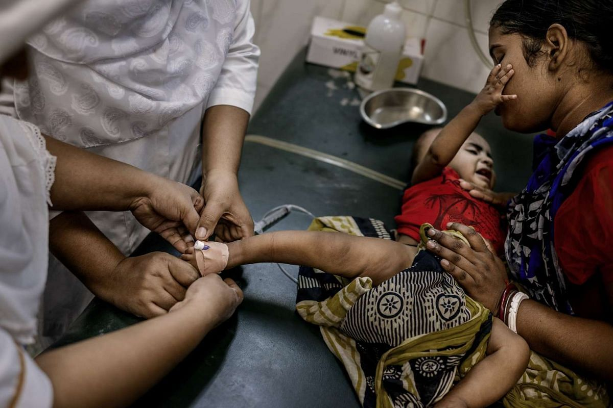 An infant patient at the International Centre for Diarrheal Disease Research in Dhaka, Bangladesh, on Aug 17, 2016.