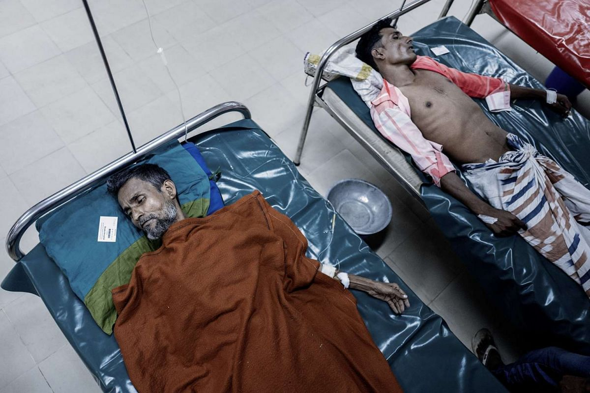 Two cholera patients in the general ward of the International Centre for Diarrheal Disease Research, in Dhaka, Bangladesh, on Nov 14, 2016.