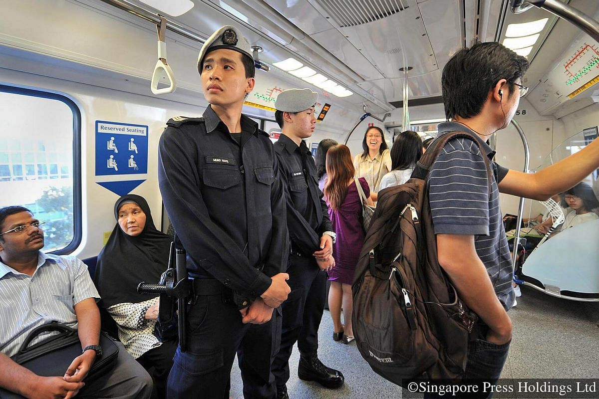 2010: With the need for increased vigilance in the face of terror threats from Islamic State in Iraq and Syria (ISIS) militants, officers of the Public Transport Security Command, mostly full-time national servicemen, routinely patrol the 84 MRT stat