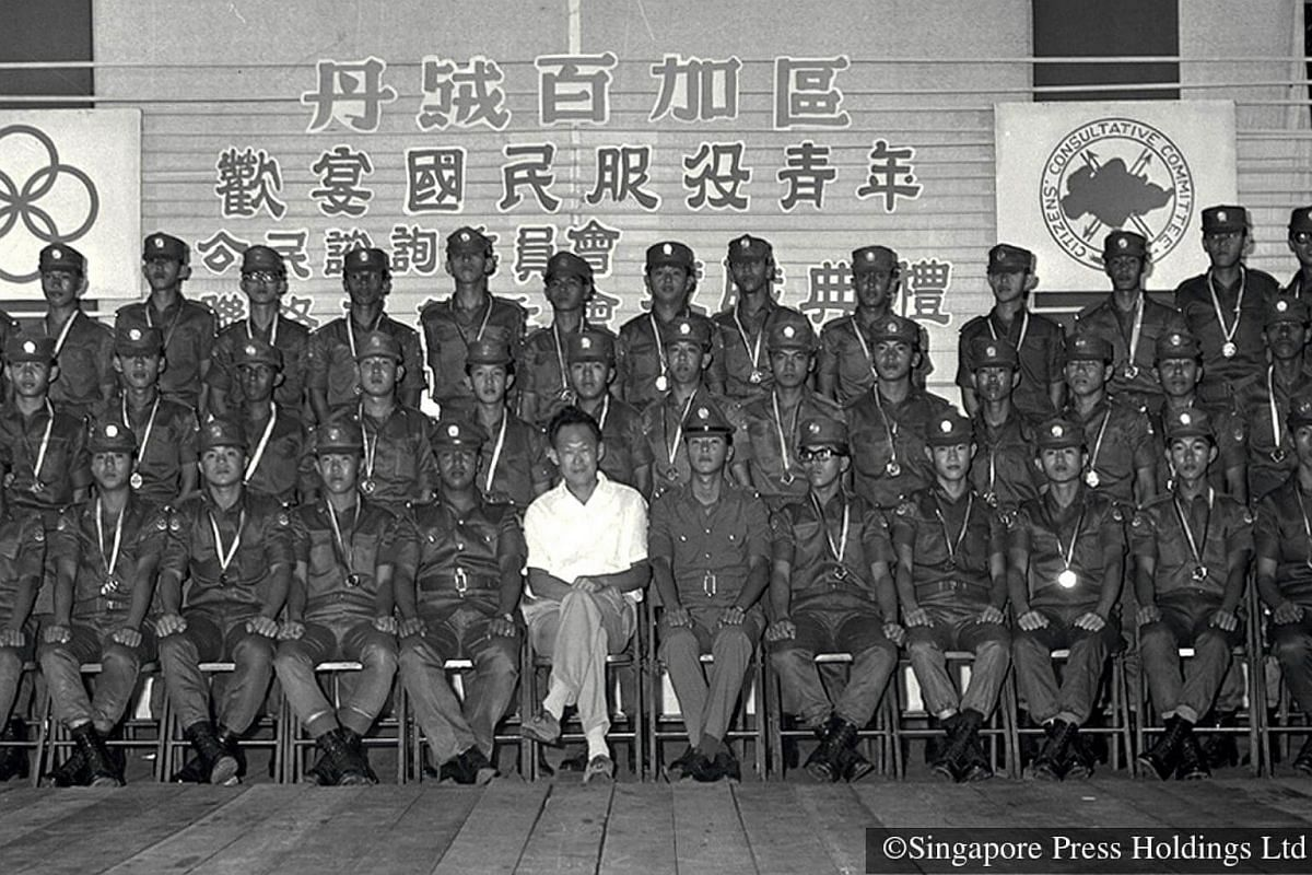 1968: Prime Minister Lee Kuan Yew at a send-off dinner for NSmen at Tanjong Pagar Community Centre. PM Lee and Defence Minister Goh Keng Swee call for compulsory conscription in 1967, as the British armed forces were pulling out of Singapore.