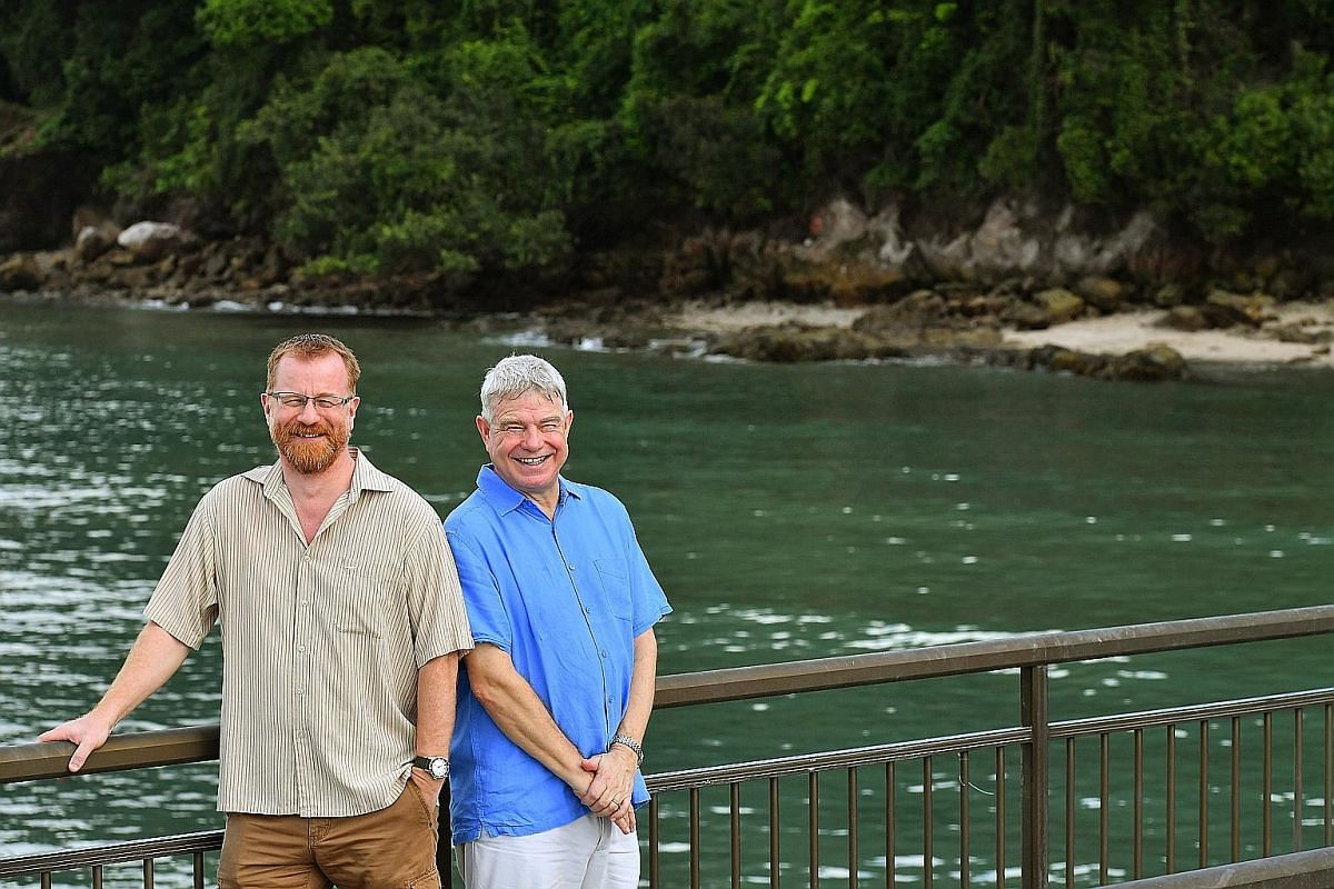 Prof Peter Todd (left) and Prof Stephen Hawkins at the Labrador Nature Reserve, one of the few places in Singapore that have rocky shores. Labrador Park was gazetted a nature reserve in 2002.