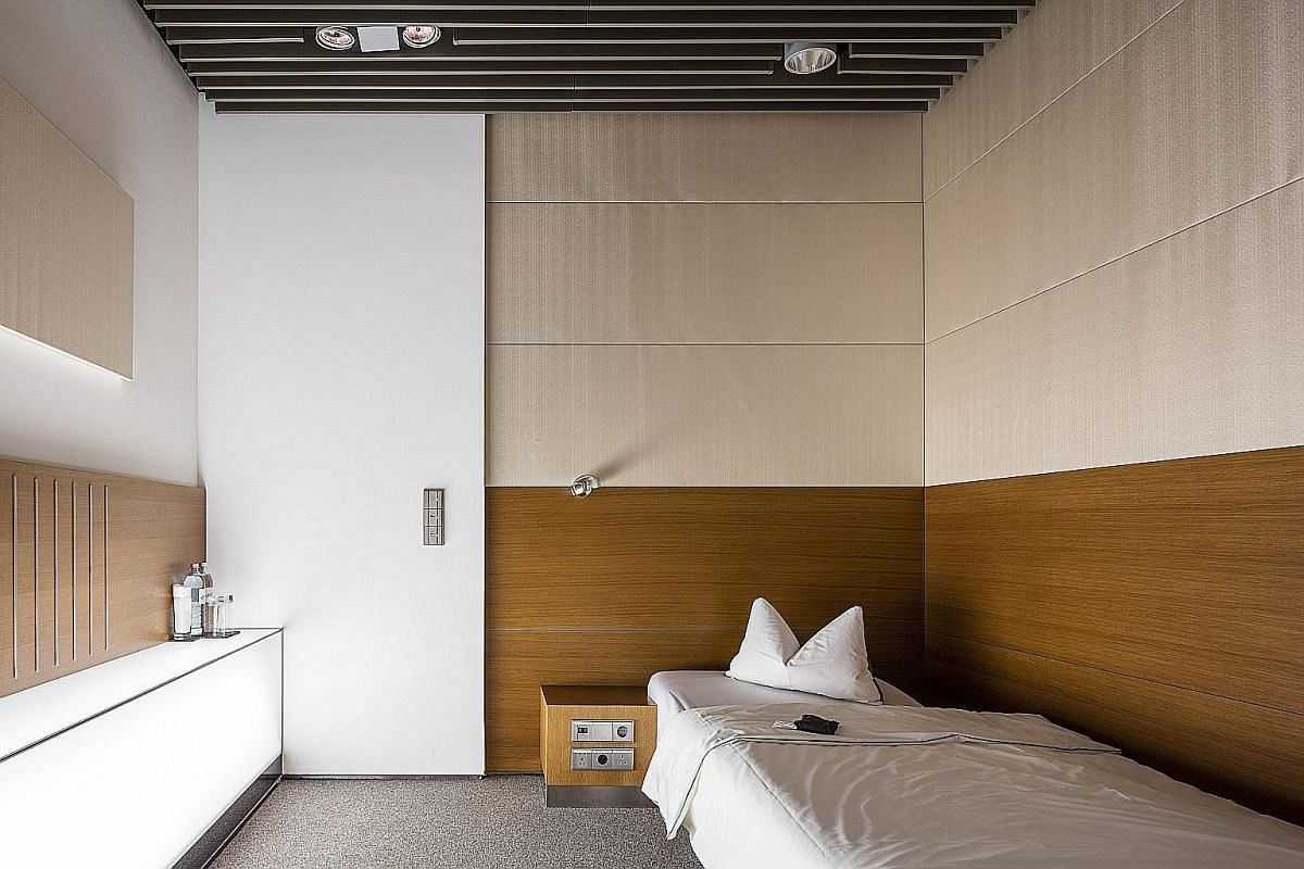 The Cathay Pacific lounge in Hong Kong International Airport won Skytrax's Best First Class Lounge award last year. Bath and shower amenities at Qatar Airways' Al Safwa First Lounge at Hamad International Airport in Doha. A sleeping room in Lufthansa