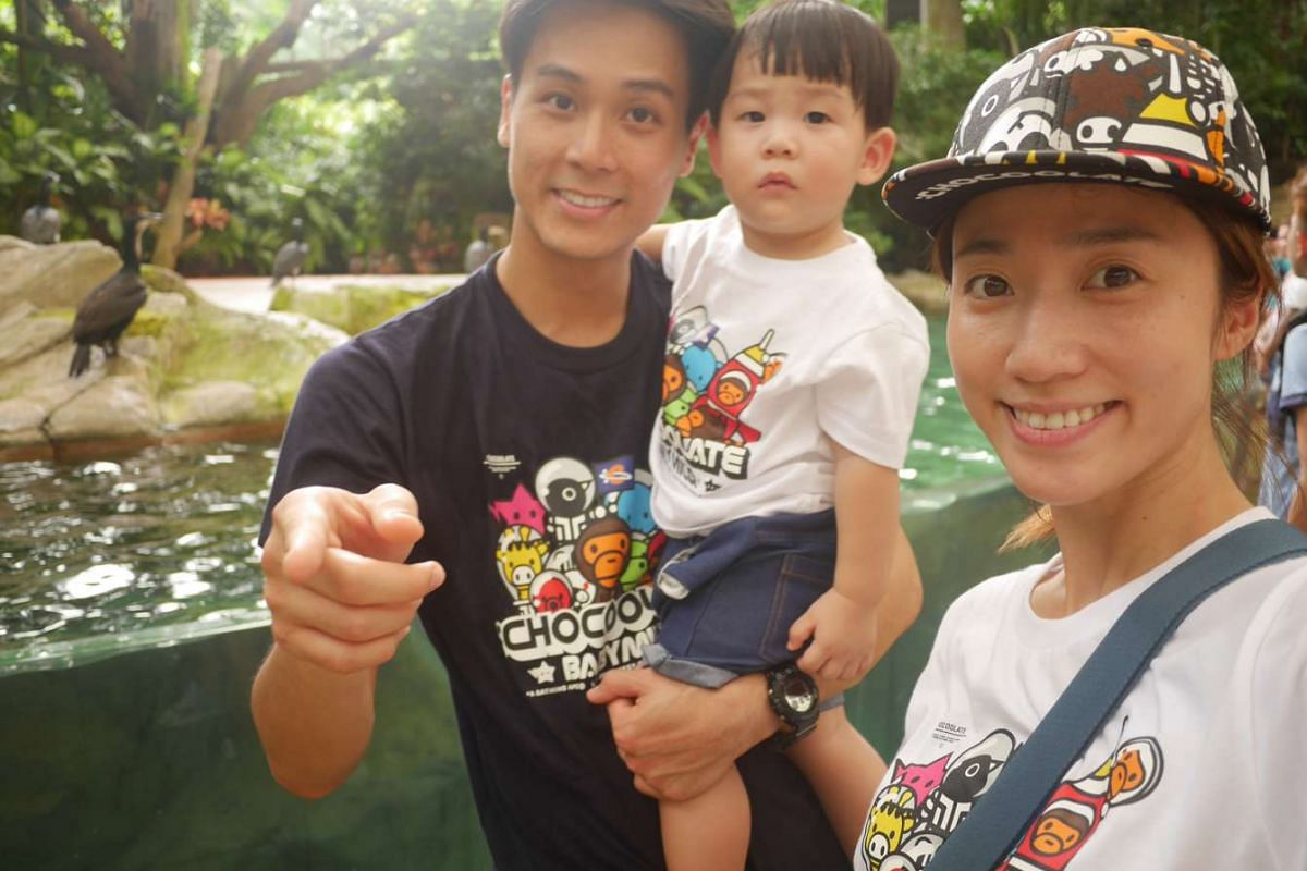 Actor Andie Chen and actress-host Kate Pang with their baby, Aden.