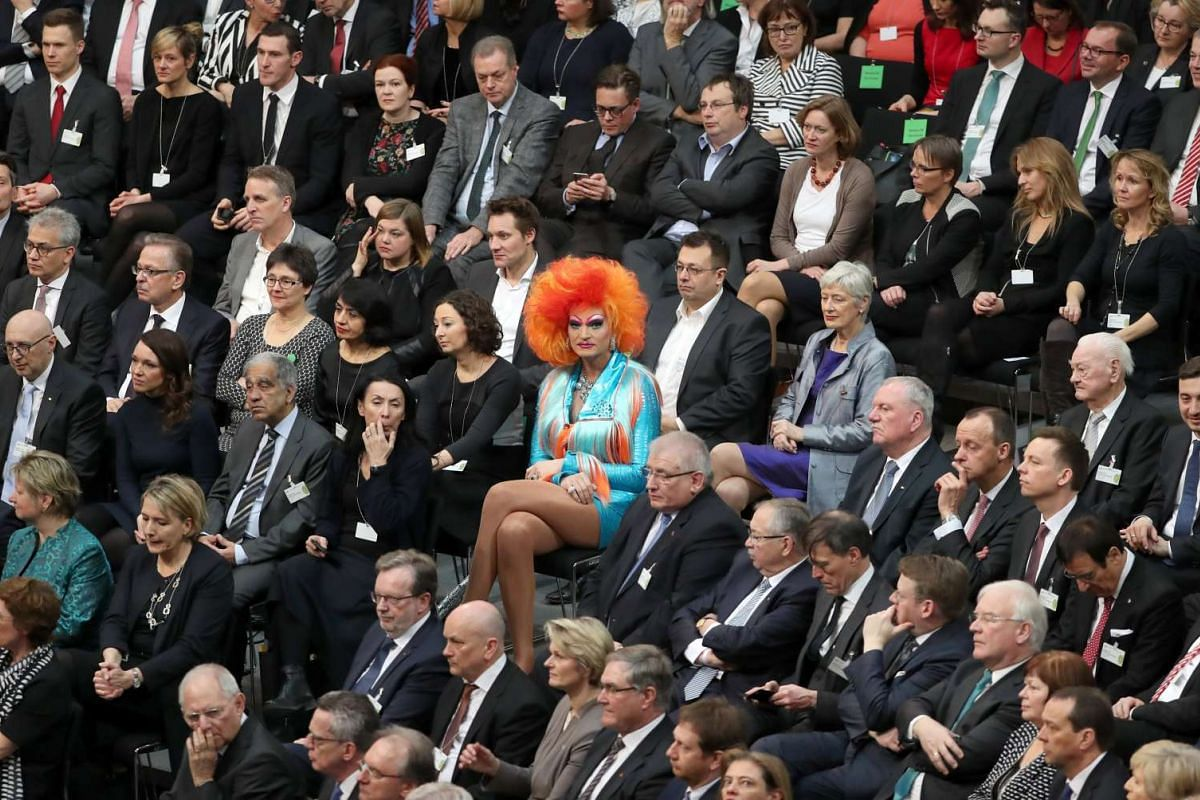 German TV personality, Drag Queen Olivia Jones (C), during the Federal Assembly (Bundesversammlung) at the German 'Bundestag' parliament in Berlin, Germany, February 12, 2017. PHOTO: EPA