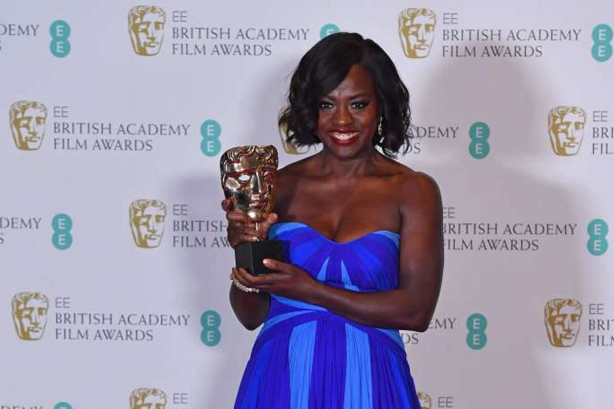 American actress Viola Davis poses with the award for Best Supporting Actress for her work on the film Fences.