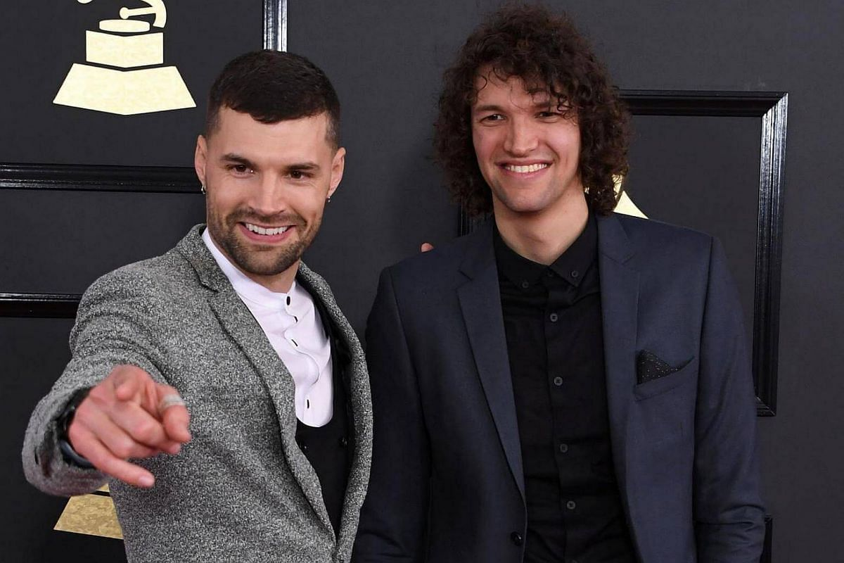 Joel (left) and Luke Smallbone of for King and Country arriving for the 59th Grammy Awards pre-telecast on Feb 12, 2017, in Los Angeles, California.