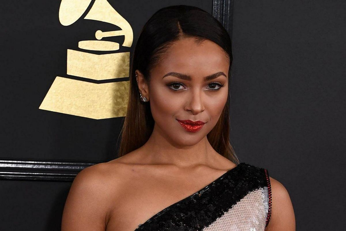 Kat Graham arriving for the 59th Grammy Awards pre-telecast on Feb 12, 2017, in Los Angeles, California.