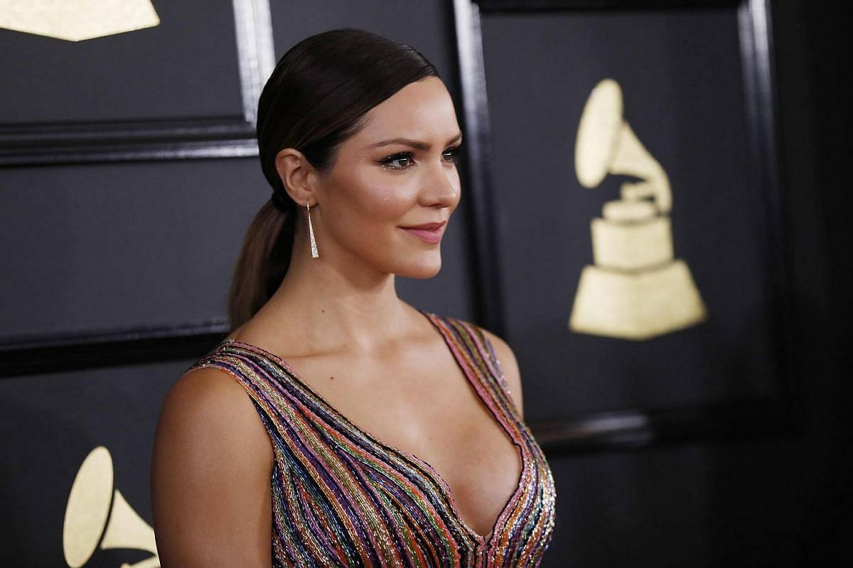 Singer Katharine McPhee arriving at the 59th Annual Grammy Awards in Los Angeles, California, US, February 12, 2017.