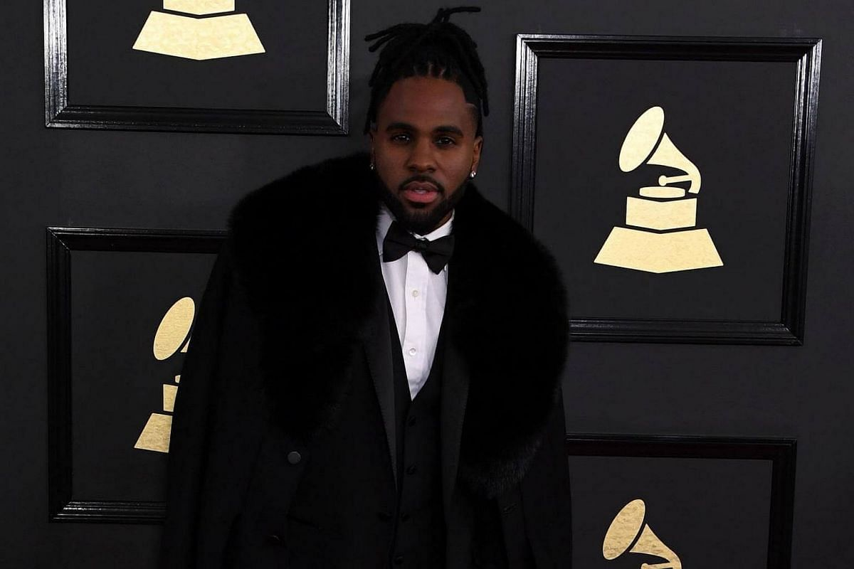Jason Derulo arriving for the 59th Grammy Awards on Feb 12, 2017, in Los Angeles, California.
