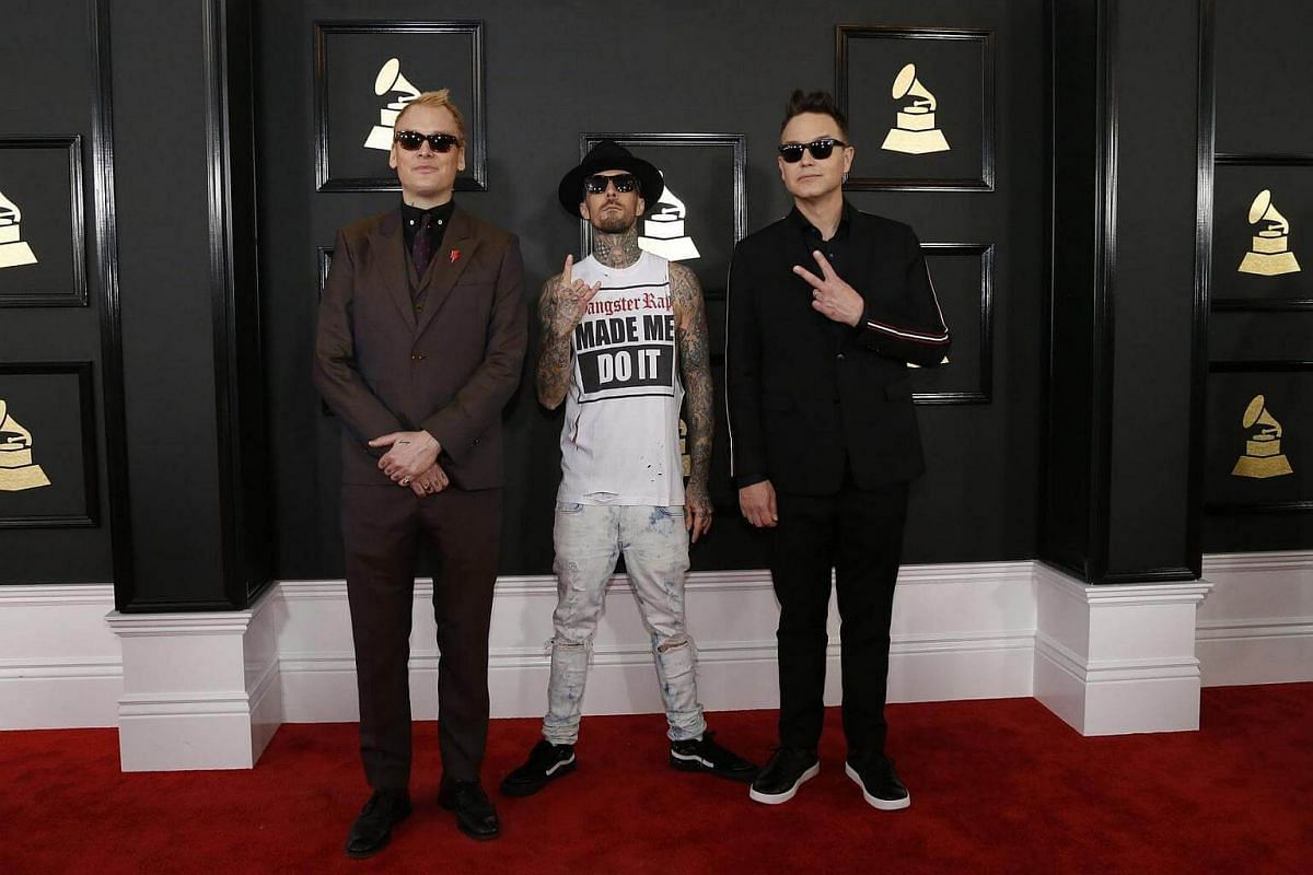 Blink 182 arriving at the 59th Annual Grammy Awards in Los Angeles, California, US, on Feb 12, 2017.