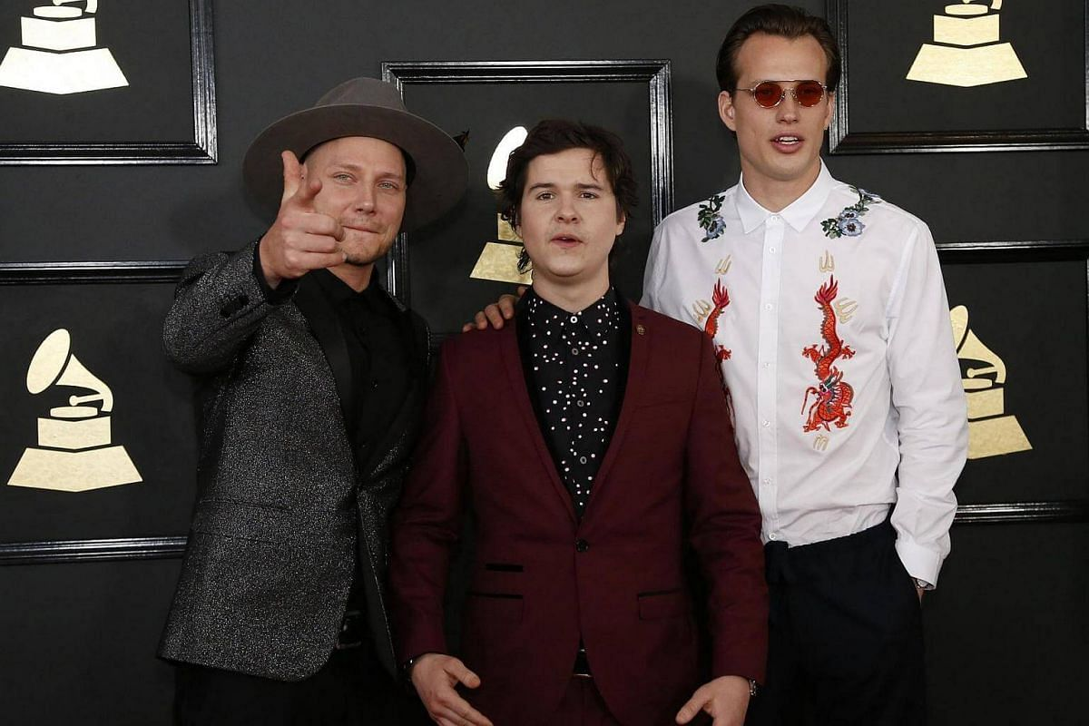 Pop band Lukas Graham arriving at the 59th Annual Grammy Awards in Los Angeles, California, US, on Feb 12, 2017.