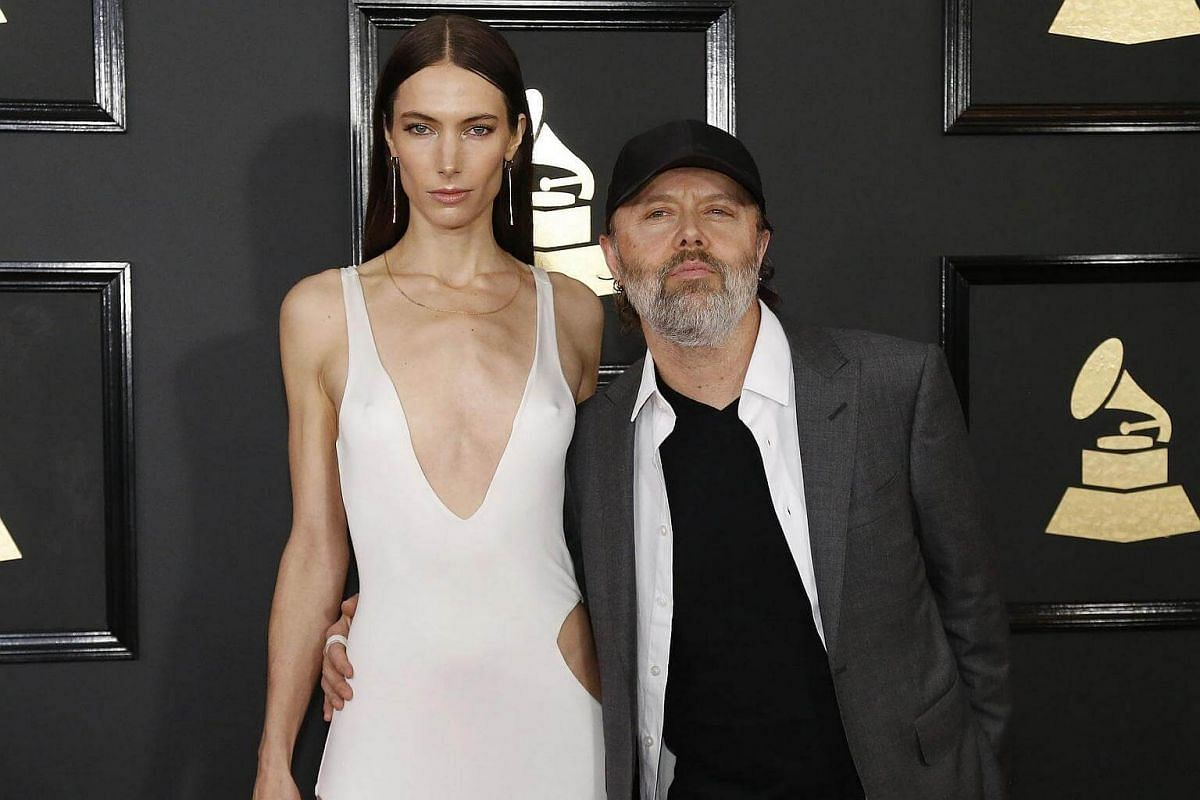 Musician Lars Ulrich and Jessica Miller arriving at the 59th Annual Grammy Awards in Los Angeles, California, US, on Feb 12, 2017.