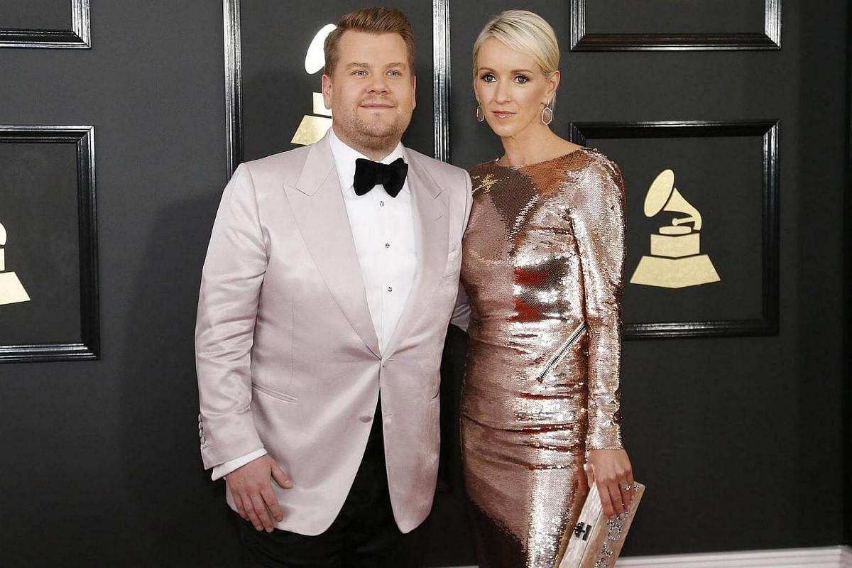 James Corden and wife Julia Carey arriving at the 59th Annual Grammy Awards in Los Angeles, California, US, on Feb 12, 2017.