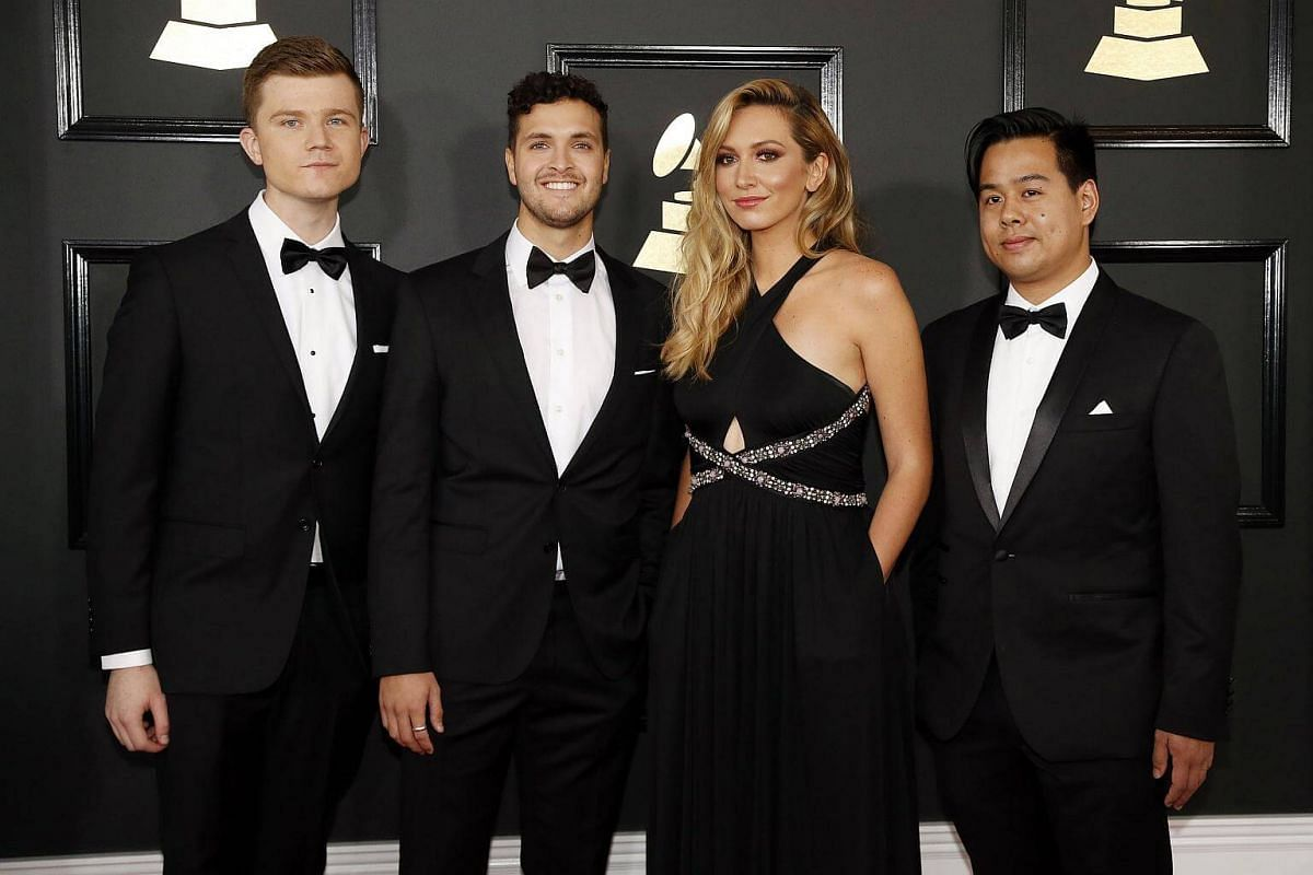 Members of the musical group Hillsong Young & Free arriving together at the 59th Annual Grammy Awards in Los Angeles, California, US, on Feb 12, 2017.