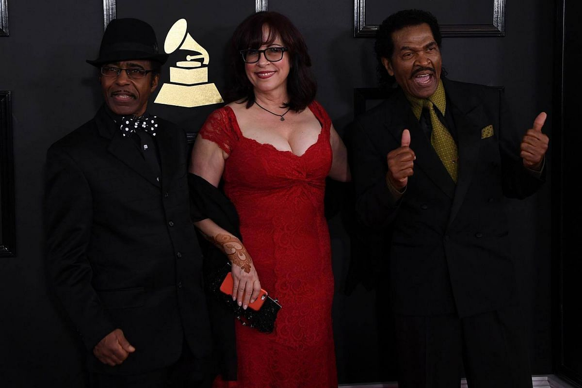 Bobby Rush, Janiva Magness, and Vasti Jackson arriving for the 59th Grammy Awards pre-telecast on Feb 12, 2017, in Los Angeles, California.
