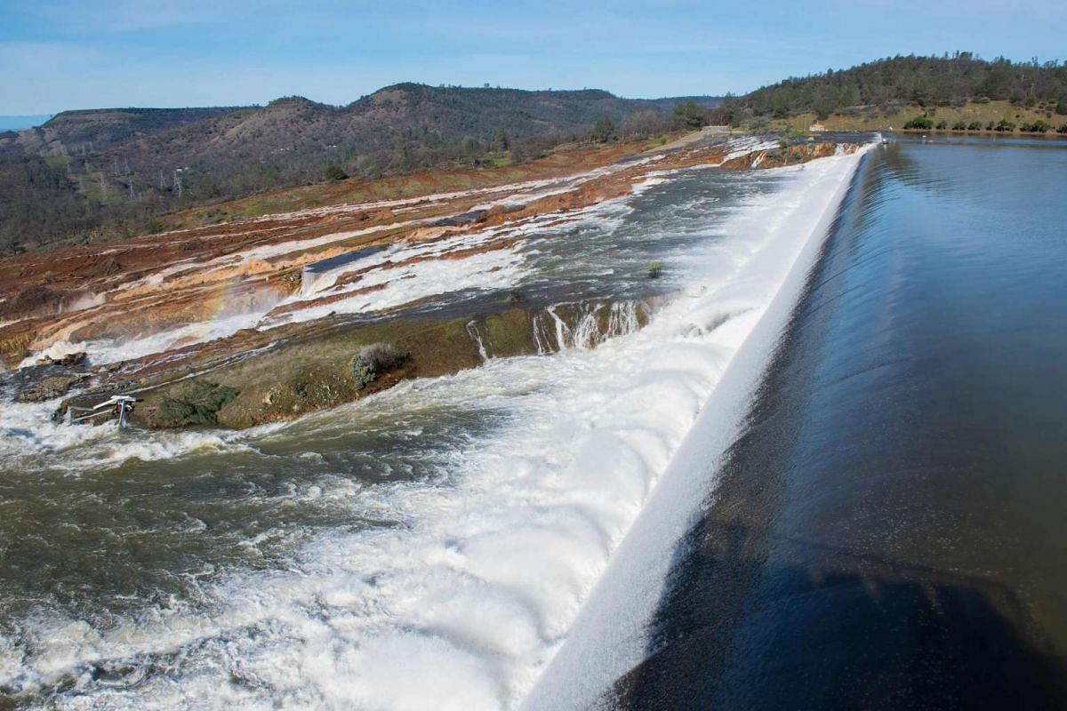 Water from the Oroville Dam Auxiliary Spillway at Lake Oroville continuing to flow toward the diversion pool of the Feather River on Feb 12, 2017.