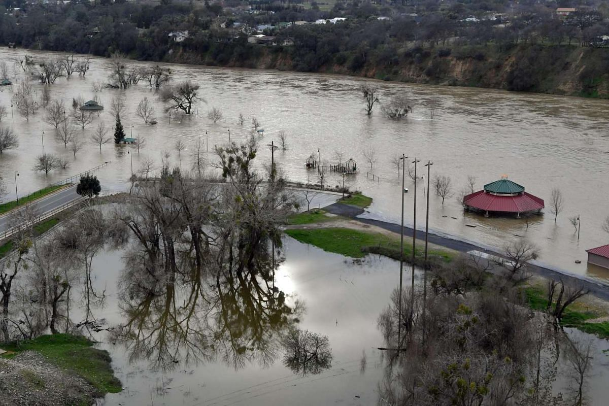 Riverbend Park is seen under flood water in Oroville, California, on Feb 13, 2017.