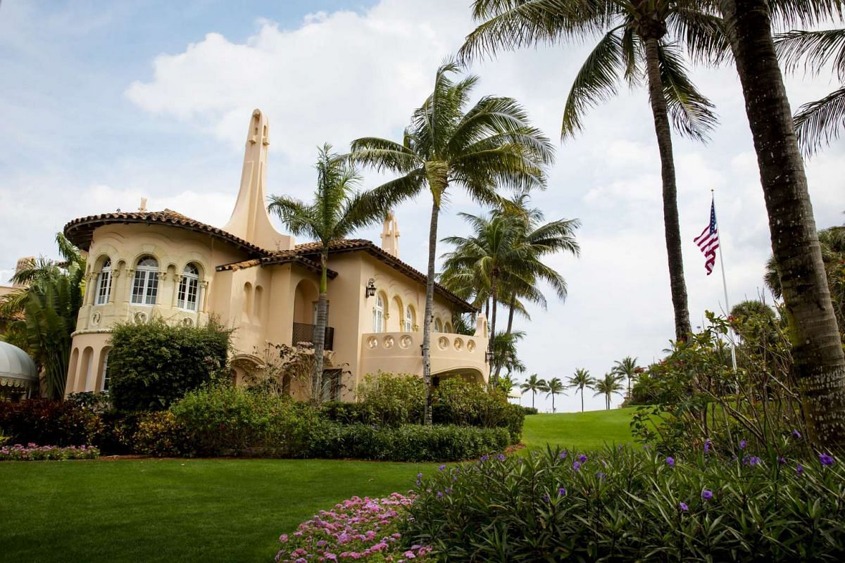 US President Donald Trump's Mar-a-Lago estate, a Mediterranean-style mansion with 118 rooms, in Palm Beach, Florida.