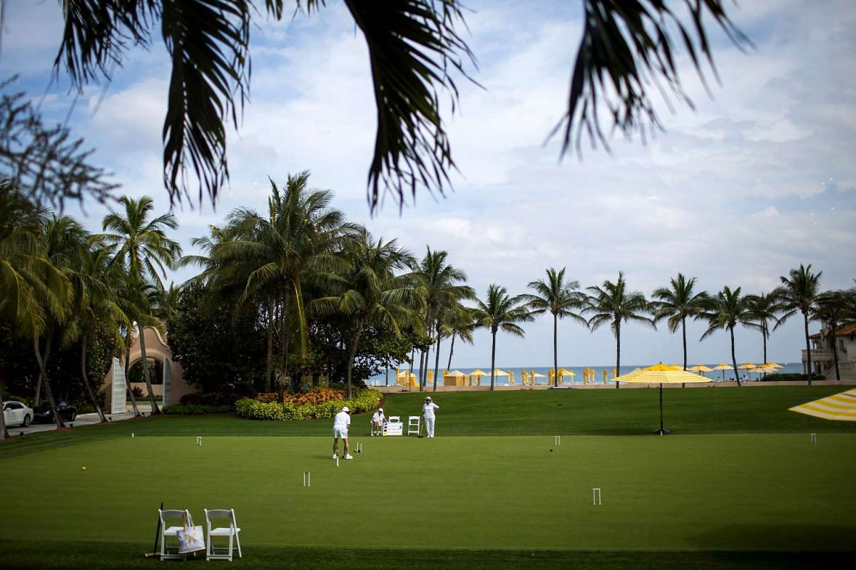 People playing croquet at the Mar-a-Lago estate.