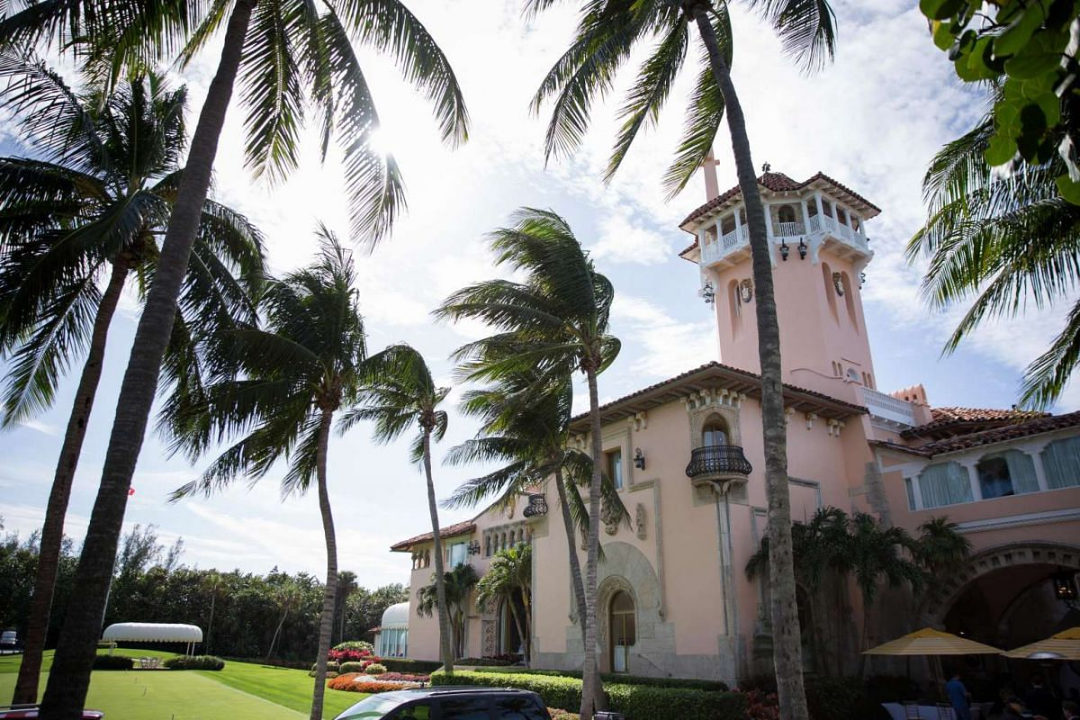 The exterior of US President Donald Trump's Mar-a-Lago estate in Palm Beach, Floriday.