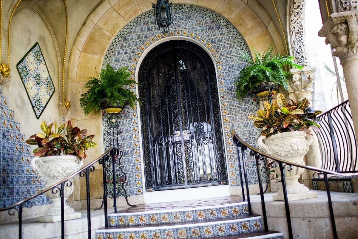 The entrance to the Mar-a-Lago estate, owned by US President Donald Trump.