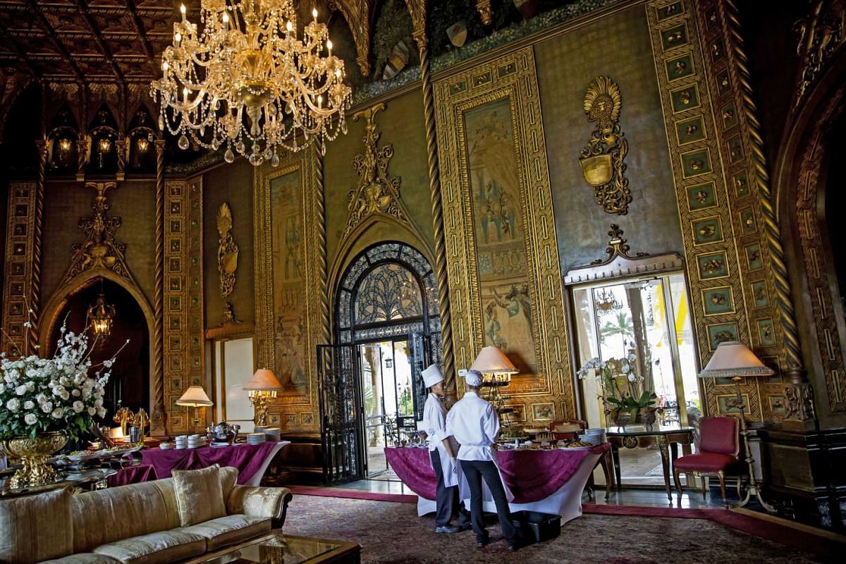 The main living room in the Mar-a-Lago estate.