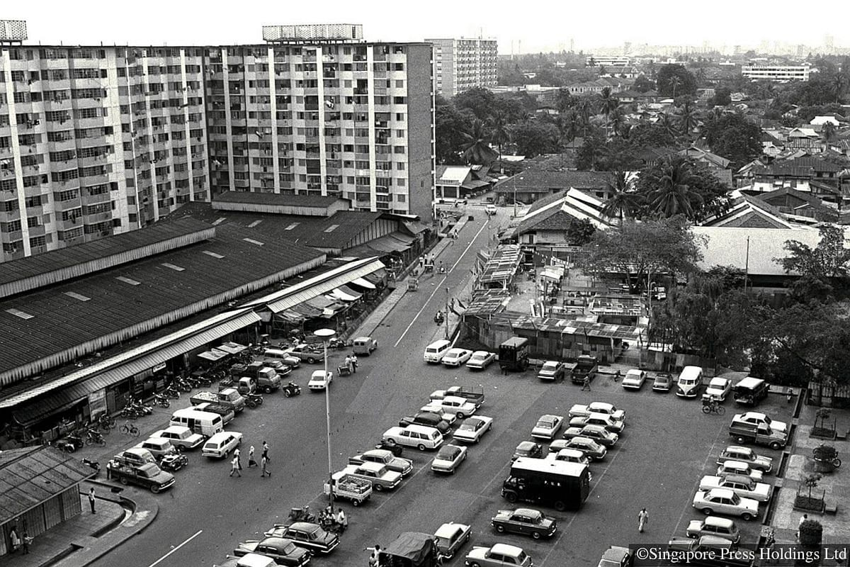 1973: Bird's-eye view of the Geylang Serai market and carpark. HDB began to develop Geylang Serai into a modern housing estate from 1963. The market draws Malays from all over Singapore, but is also popular with locals and tourists of  all races.