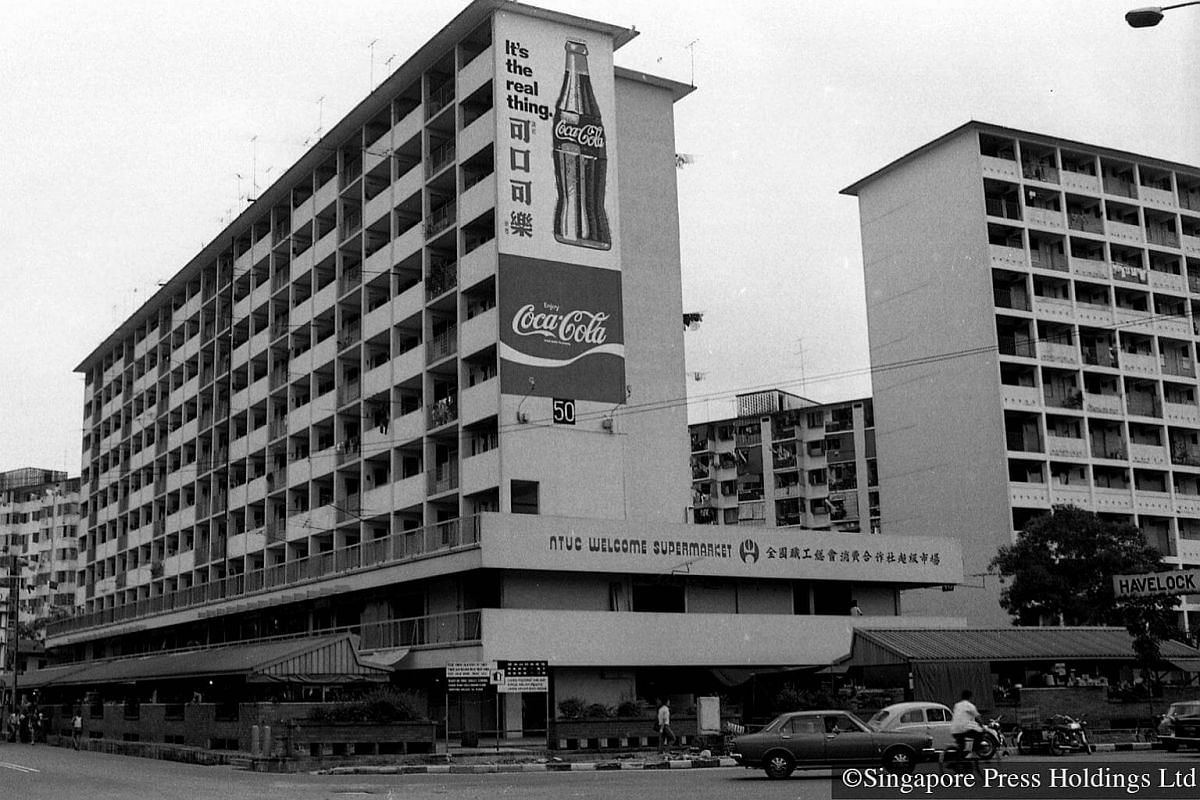 1974: NTUC WELCOME supermarket at the ground floor of Block 50, Beo Crescent near Havelock Road. HDB built its first market/hawker centre on the first two floors of this block in 1966.  The supermarket is the second to be  opened by the co-operative,