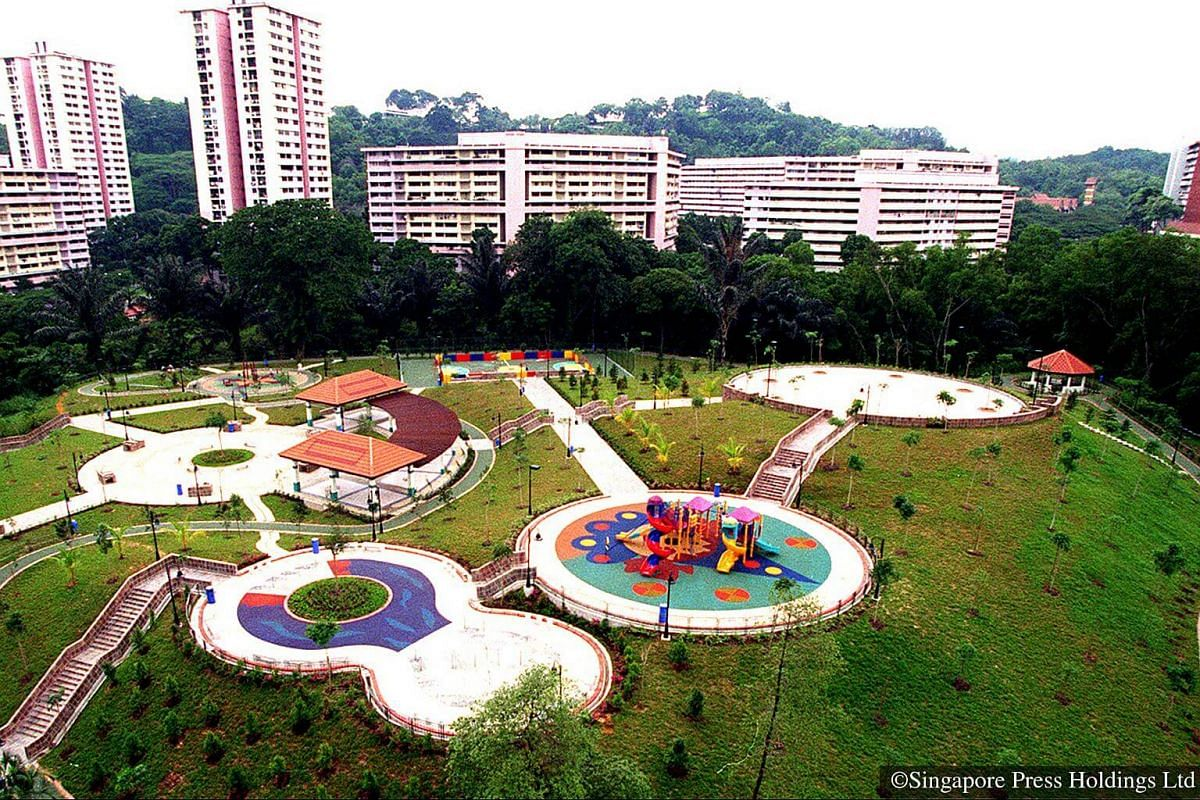 1998: Shielded from view by a ring of old trees are the new leisure facilities at the top of the hillock in Bukit Purmei, including an amphitheatre, a street soccer court and barbecue pits. They are part of an $11-million interim upgrading project.