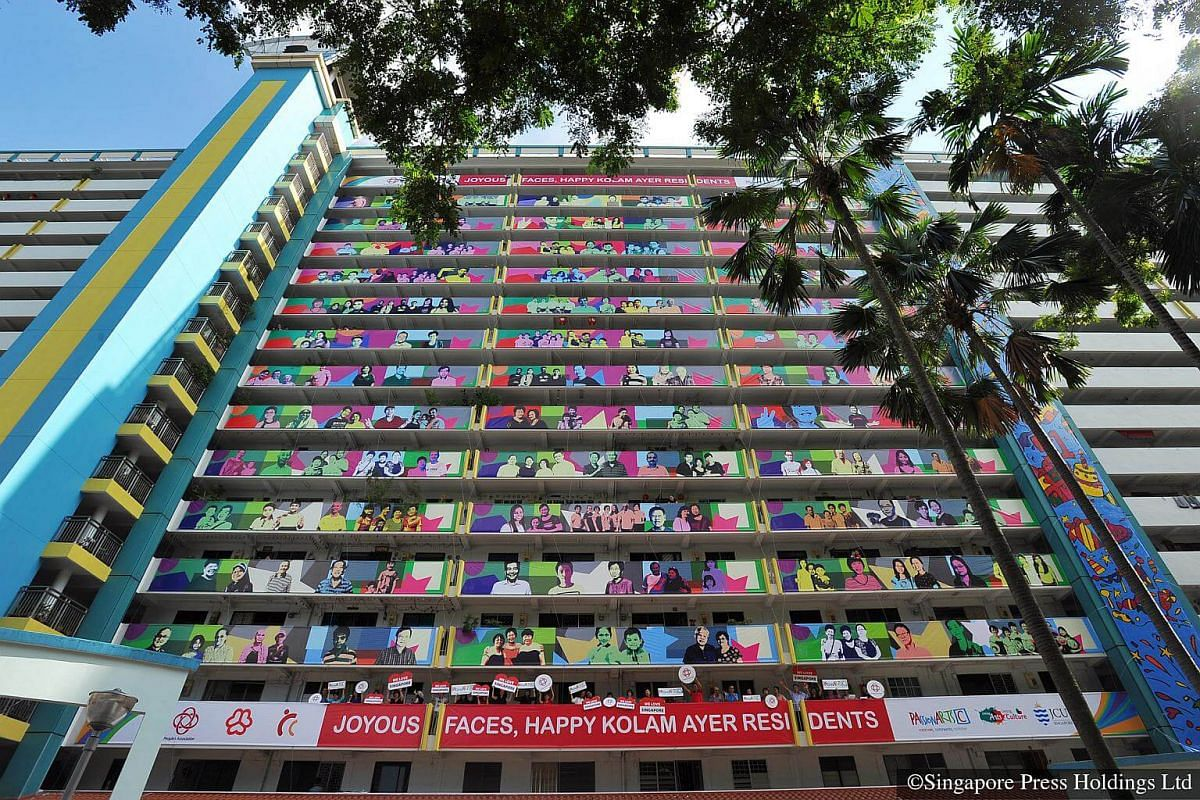 2016: Joyous Faces, an art installation adorning the facade of Block 11 in Upper Boon Keng Road. Featuring the smiling faces of Kolam Ayer residents against a multi-coloured background, the artwork is made up of 42 canvas print panels. Nearly 1,000 r