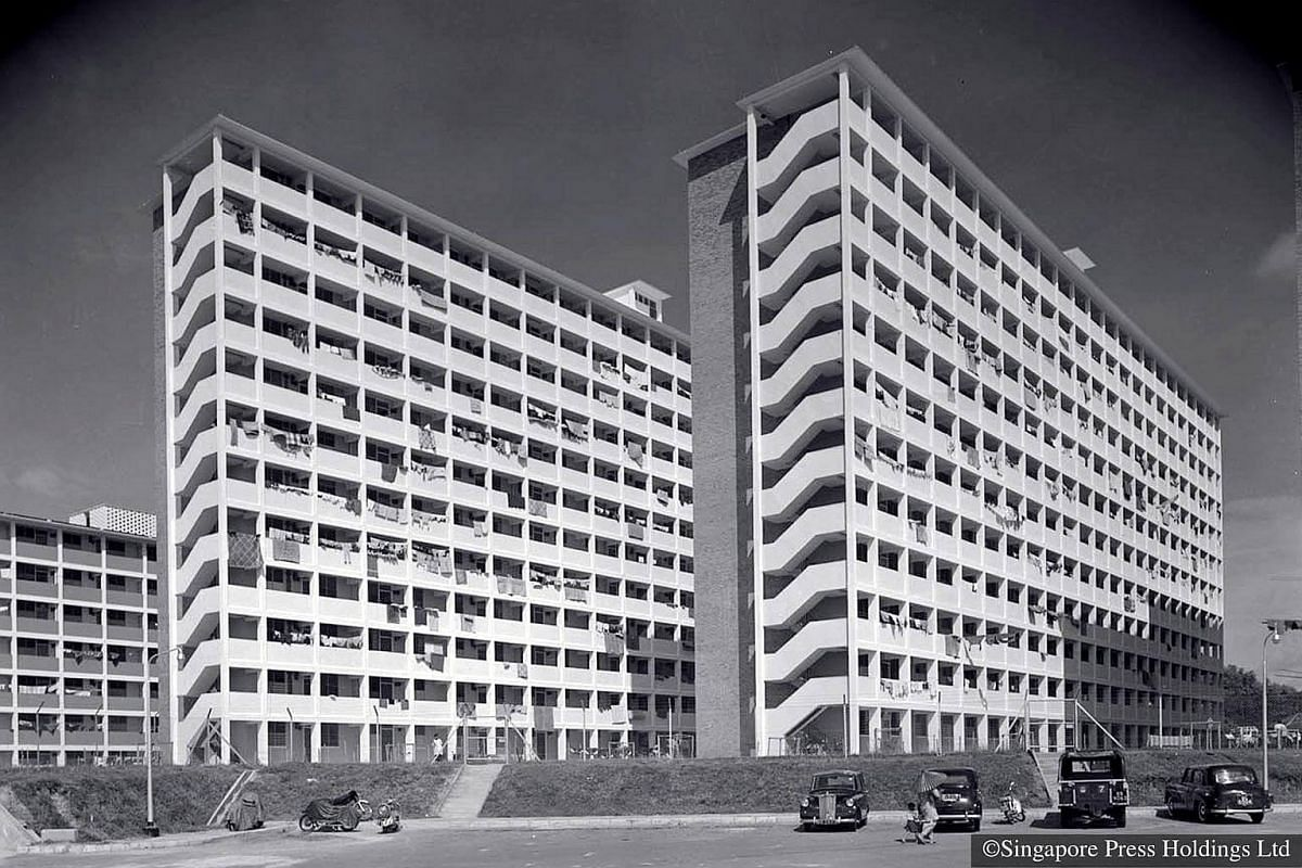1962: Flats in Queenstown built by the Housing and Development Board (HDB). Queenstown was one of the earliest housing estates to be built by the Singapore Improvement Trust, the  predecessor to HDB. It was named after Queen Elizabeth II, in 1953, in