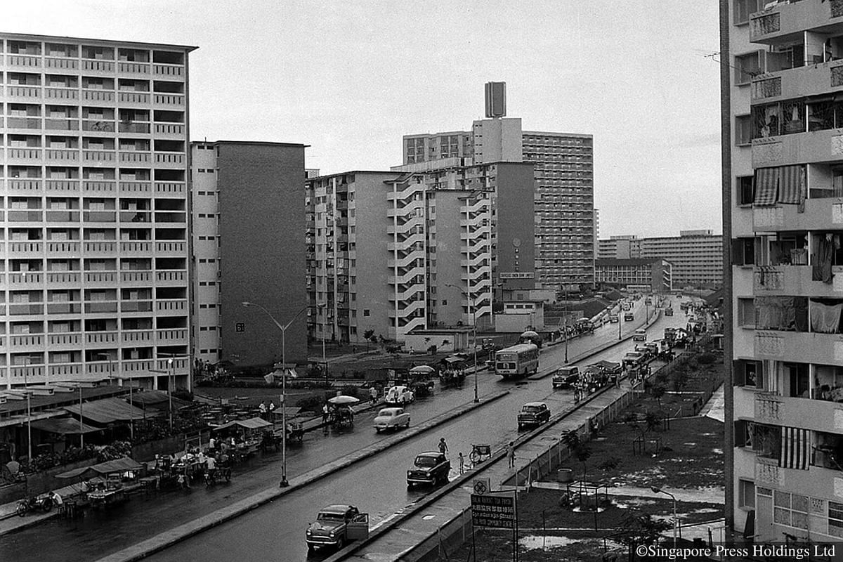 1969: Toa Payoh housing estate. It was the first estate planned and designed by HDB based on the neighbourhood concept, where neighbourhoods were grouped around a town centre. The centre would have public facilities such as schools and shops.