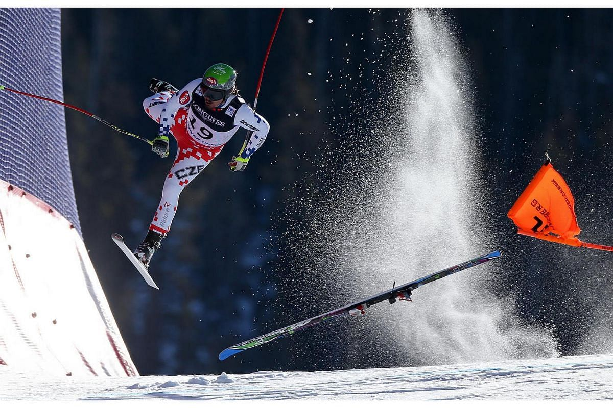 Czech skier Ondrej Bank crashes during the downhill portion of the alpine combined contest, at the FIS Alpine World Ski Championships. Bank stumbled and lost control just before the final jump. He was hospitalised with concussion and facial injuries.