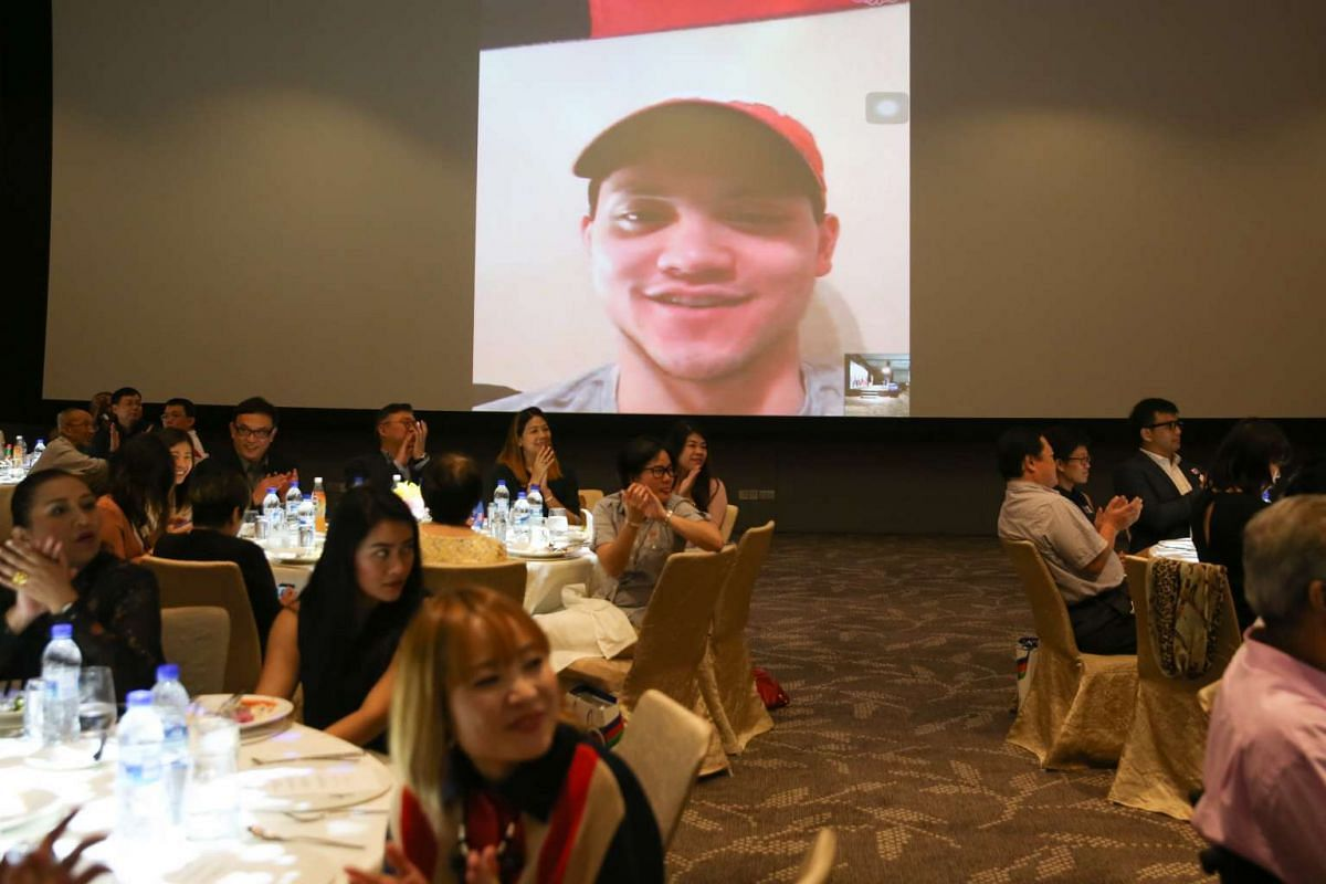 Joseph Schooling was unable to attend but appeared in a Skype call at the award ceremony.