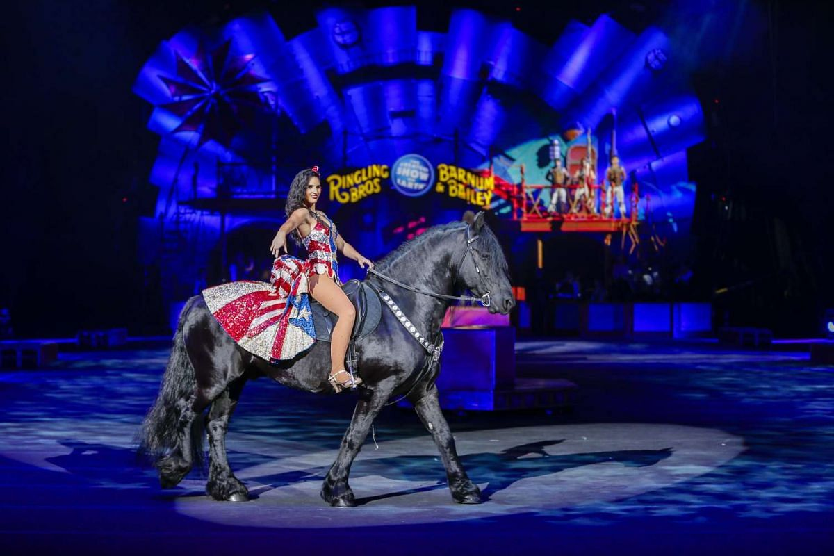 A woman riding a horse during a performance of the Ringling Bros. and Barnum and Bailey Circus at Philips Arena in Atlanta, Georgia, on Feb 15, 2017.