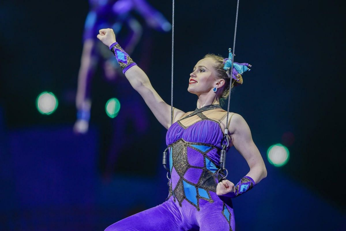 A trapeze artist performing at the Ringling Bros. and Barnum and Bailey Circus at the Philips Arena in Atlanta, Georgia, on Feb 15, 2017.