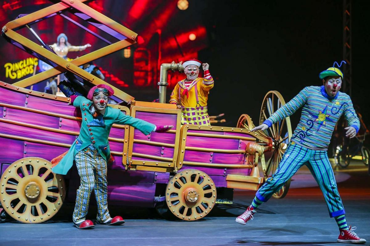 Clowns performing at the Ringling Bros. and Barnum and Bailey Circus at the Philips Arena in Atlanta, Georgia, on Feb 15, 2017.