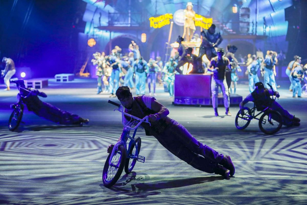 Actors performing at the Ringling Bros. and Barnum and Bailey Circus at the Philips Arena in Atlanta, Georgia, on Feb 15, 2017.