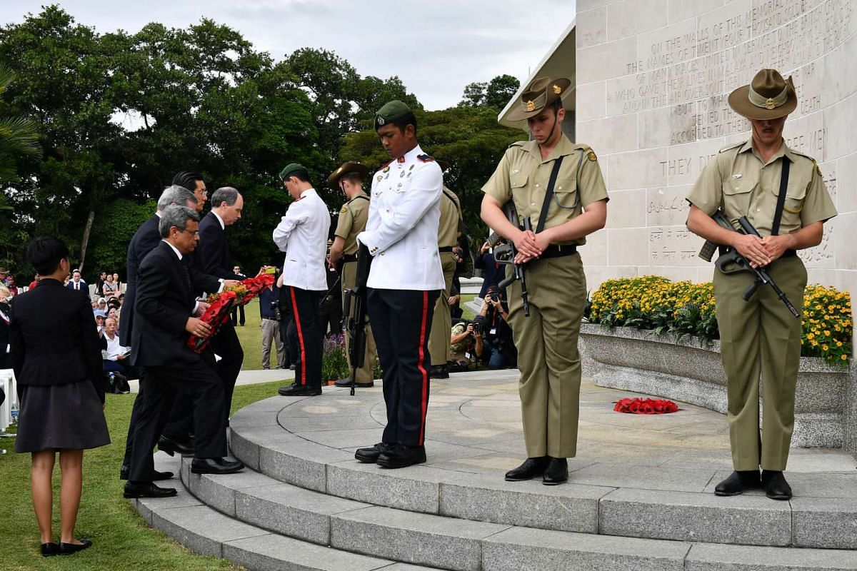 Wreath Laying by HE Jawed Ashraf, High Commission of India; HE Bruce Charles Gosper, Australian High Commission; HE Kenji Shinoda, Embassy of Japan; and HE Scott Wightman, British High Commission, at the remembrance ceremony at Kranji War Cemetery, o