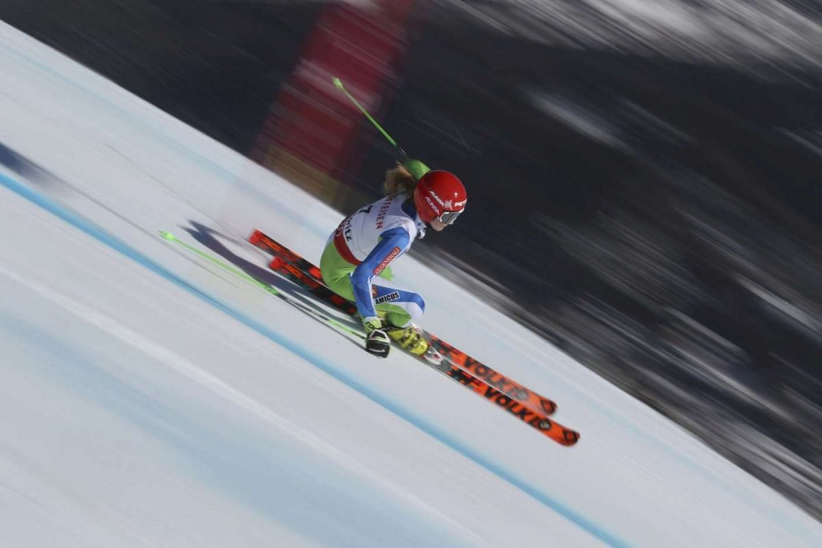 Ana Drev of Slovenia in action during the Women's Giant Slalom event of the FIS Alpine Skiing World Championships held at St. Moritz, Switzerland on February 16, 2017. PHOTO:  REUTERS