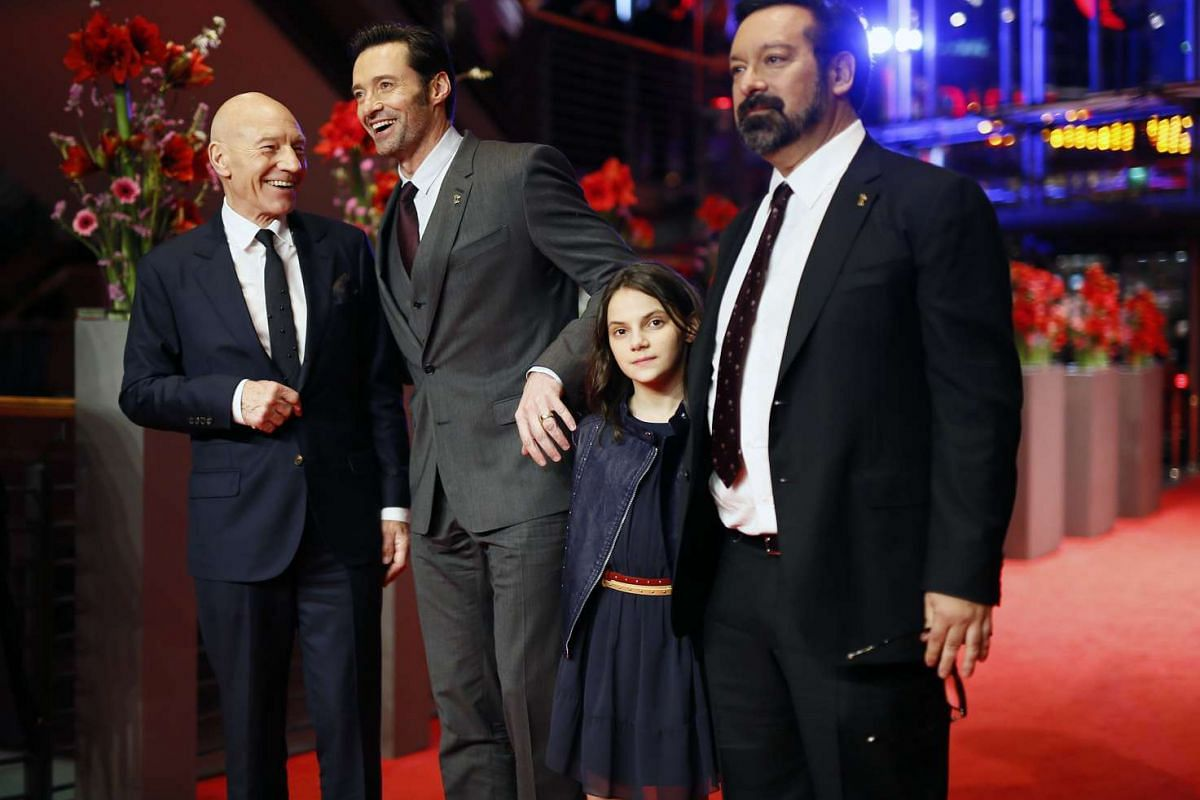 Actors (from left) Patrick Stewart, Hugh Jackman and Dafne Keen with director James Mangold at the premiere of the film Logan at the 67th Berlinale film festival in Berlin on Feb 17, 2017.