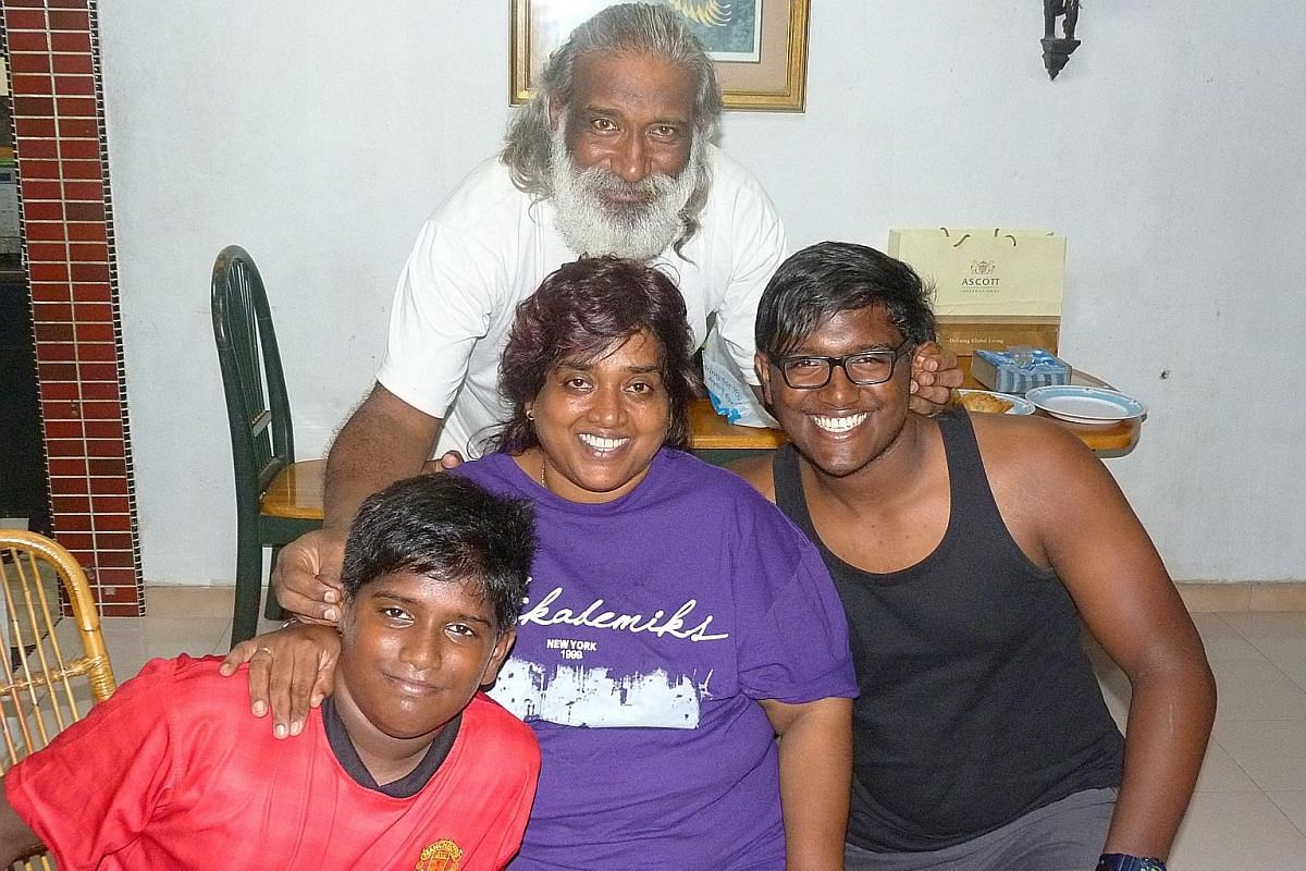My life so far: Mr Subaraj with (from left) younger son Saker, wife Shamla and elder son Serin around 2013.